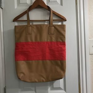 Faux leather and coral striped Express tote